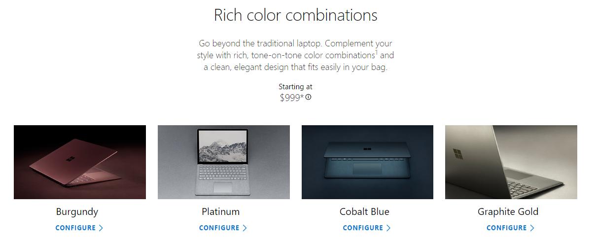 Surface Laptop カラー
